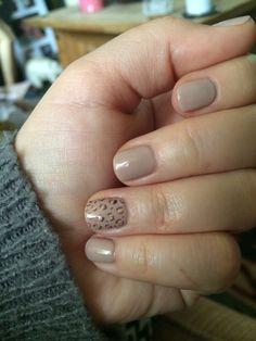 Nude animal print Gelish nail art