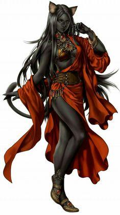 Female Catfolk Sorcerer - Pathfinder PFRPG DND D&D d20 fantasy