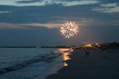 Fireworks light up the beach and Gulf at Cape San Blas.