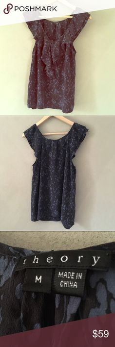 Like new! Theory 100% Silk Ruffled Tank Blouse / M Like new! Theory 100% silk blue and black ruffled tank blouse in an excellent condition size medium. Worn 1x. Anthropologie Tops Blouses