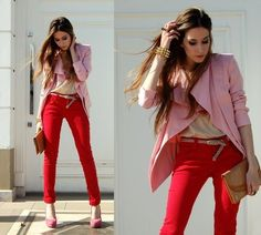 red pants & pink blazer & shoes