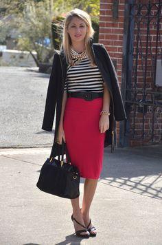 black + white striped top, fuchsia pencil skirt, black belt, black sandal heels ... Beautiful!!!