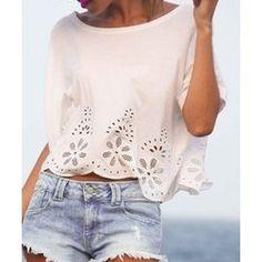 Women's Stylish Jewel Neck 1/2 Sleeve Lace Loose Crop Top