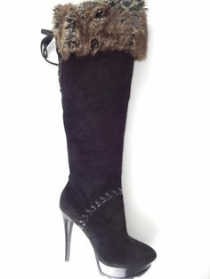 Guess by Marciano Shoes Women's REET Boot Tall Knee-High Black Suede Size 6