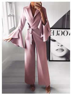 Irregular Flared Sleeve Knot Side Wide Leg Jumpsuit fashion dresses pictures summer outfits style dress for girl,work dresses outfit ideas,party dresses Bell Sleeve Shirt, Bell Sleeves, Jumpsuit With Sleeves, Bodycon Jumpsuit, Cotton Jumpsuit, Jumpsuit Outfit, Ladies Jumpsuit, Burgundy Jumpsuit, Romper Outfit