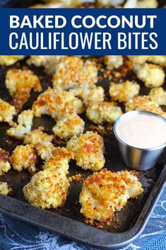 These Baked Coconut Cauliflower Bites are little bites of happiness.  They have a slightly sweet and salty crunch on the outside from the shredded coconut and seasoned panko mixture.  The inside is soft and creamy.  By themselves, they are fantastic.  Dipped in the Sriracha Mayo?  Utter Happiness!  They are also good for you since they're baked, not fried!  Easy to make, easy to eat, they are a must-try! #healthysnacks #snacks #cauliflowerrecipes #kidfriendlydinners #healthydinners #vegetarian Healthy Comfort Food, Healthy Snacks, Healthy Eats, Cauliflower Bites, Cauliflower Recipes, Yummy Appetizers, Appetizer Recipes, Dinner Recipes, Incredible Recipes