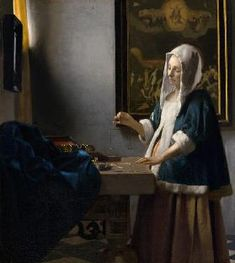 """Johannes Vermeer """"Woman Holding a Balance"""" Oil on canvas Dutch Golden Age Located in the National Gallery of Art, Washington DC, United States Johannes Vermeer, National Gallery Of Art, Art Gallery, National Art, Delft, Rembrandt, Oil On Canvas, Canvas Art, Canvas Prints"""