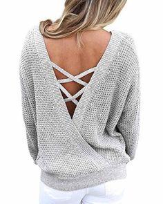 68d30312c69237 Plain Grey V Neck Criss Cross Bare Back Sweater. risechic.com. New Asvivid Women s  Long Sleeve Criss Cross Backless Casual Loose Knit ...
