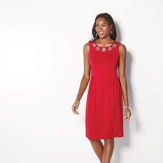 Grommet Dress in Women's. Red A-line dress with silvertone grommets on neckline. Machine wash and dry.Center back length: 38 on Avon Fashion, Fashion Online, Womens Fashion, Red A Line Dress, Signature Collection, Looking For Women, High Neck Dress, Dresses For Work, Dresser