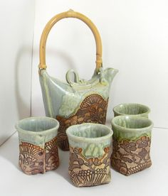 Ceramic Lace-Impressed 4-Cup Tea Set, Blue Heron Pottery, found on Etsy, $110 USD
