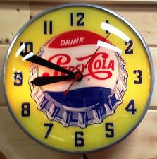 Vintage Pepsi Cola Lighted Advertising Clock by Swihart Products