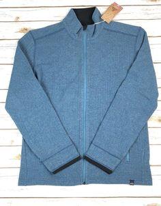 9bf6e8f409ad7 Prana Barclay Sweater Mosaic Blue Full Zip Wool Blend $139 Men's Size L NWT  | eBay