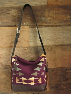 Plum Native Wool purse with leather bottom/ by MercyGreyDesignCo