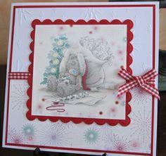 Tatty Teddy Xmas by: Simple Christmas Cards, Handmade Christmas, Craft Cards, Kids Cards, Tatty Teddy, Teddy Bear, Xmas Crafts, Paper Crafts, Scrapbook Cards
