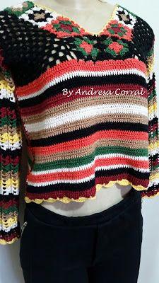 A ARTE DE FAZER CROCHE By ANDRESA: Cropped  Crochê de Inverno Boho Chic