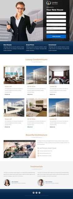 London - Real Estate Landing Page #landingpage #webdesign #web Live Preview and Download: http://themeforest.net/item/london-real-estate-landing-page/10430406?ref=ksioks