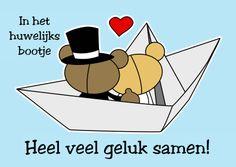 In het huwelijks bootje - Felicitatiekaarten - Kaartje2go - trouwen - getrouwd - fijne dag - echtpaar - bruidspaar - liefde - gefeliciteerd - kaarten - Esther van Gijn