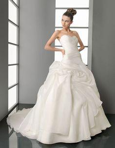 Ball gown sweetheart chapel train  glamorous organza with ruffle wedding dress $463.86
