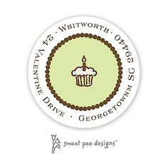 Dotted Border Chocolate And Lime Round Return Address Sticker | Notepourri