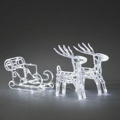 Konstsmide 96 LED Light Christmas Acrylic Reindeer and sledge
