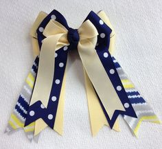 Hair Bows for Horse Shows/Chevron Blue Grey by BowdanglesShowBows