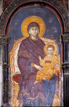 Icon of the Theotokos and the Christ Child manuel-panselinos-from-the-holy-church-of-the-protaton Byzantine Icons, Byzantine Art, Religious Icons, Religious Art, Fresco, Christian Artwork, Religion Catolica, Catholic Art, Orthodox Icons