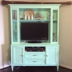 Hutch Repurposed as an Entertainment Center. Diy Furniture Redo, Repurposed Furniture, Painted Furniture, Furniture Refinishing, Kitchen Furniture, Media Furniture, Repurposed Items, Cabinet Furniture, Furniture Projects