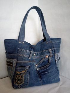 Large Hobo denim bag Casual tote bag of jeans Big jean market bag Denim Handbags, Denim Tote Bags, Denim Purse, Denim Bags From Jeans, Jean Purses, Purses And Bags, Look Jean, Recycled Denim, Market Bag