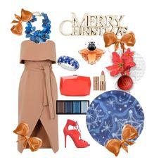 """""""Beige dress"""" by natalisdomini ❤ liked on Polyvore featuring Clé de Peau Beauté, NEST Jewelry, Tabitha Simmons, Monique Lhuillier, Lancôme, tarte and R.H. Macy's & Co."""