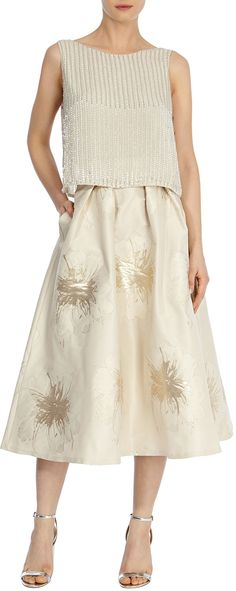 Womens gold lyra foiled jacquard skirt from Coast - £129 at ClothingByColour.com