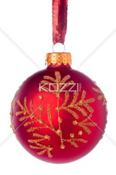 hanging christmas ball - A hanging red round shape Christmas ball on a white background