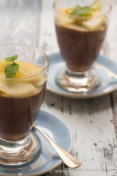 Kochen mit Diana/ Cooking with Diana: Schokoladenflammerie mit Zimtbirnen/ Chocolate blancmange with cinnamon pears
