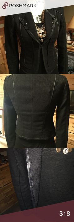 WHBM size 0 black blazer WHBM size 0 black with black leather trim , adorable detail to this jacket . Sits just below waist . Made of polyester, cotton ,& spandex . Excellent t condition ! White House Black Market Jackets & Coats Blazers