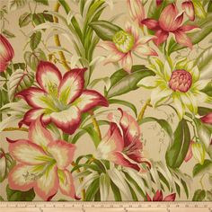 Tommy Bahama Home Botanical Glow Bonfire from @fabricdotcom  Screen printed on 100% cotton canvas; this medium weight fabric is very versatile. This fabric is perfect for window treatments (draperies, valances, curtains, and swags), duvet covers, pillow shams, accent pillows, tote bags, aprons, slipcovers and light upholstery. Colors include taupe, red, pink, coral rose, green, brown, citrine and khaki. This fabric has 15,000 double rubs.