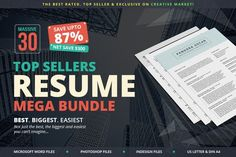 Top Sellers #Resume Mega Bundle by SNIPESCIENTIST on Creative Market #discount #offer