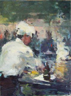 Jia Bei Le  Het Wokrestaurant  olieverf op linnen - 80 x 60 cm