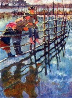 Children On A Fence  Nikolai Bogdanov-Belski (1868 – 1945, Russian)