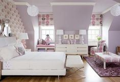Lavender, pink, and white big girl room