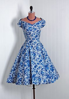 Sun Dress, Emma Domb, California: 1950's, watercolor floral lightweight cotton print, sequined sweetheart bodice.
