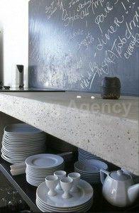 Black board + concrete shelving