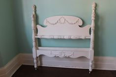 Custom Order Twin Bed Frame Shabby Chic Distressed White Vintage Single Cottage Rose Swag Appliques By VintageChicFurniture On Etsy
