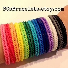 Rainbow Loom Braclets . Party Favor Pack . 15 Fishtail Mustache Charm Bracelets . Birthday Party Favors . Class Party Favors