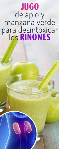 Cómo desintoxicar los riñones con jugo de apio y manzana verde, para prevenir insuficiencia renal, dolor de riñones, aparato urinario, sistema urinario, insuficiencia renal cronica, piedras en el riñon, quiste en el riñon, infeccion de riñon, fallo renal, propiedades del apio, beneficios del apio, propiedades de la manzana Smoothies, Home Remedies, Juice, Healthy Recipes, Fruit, Drinks, Food, Fitness, Women's Fashion