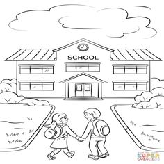 Boy and Girl Going to School coloring page from School category. Select from 26202 printable crafts of cartoons, nature, animals, Bible and many more. Kindergarten Coloring Pages, School Coloring Pages, Fall Coloring Pages, Coloring Sheets For Kids, Coloring Books, Kids Coloring, Easter Drawings, Art Drawings For Kids, Drawing For Kids