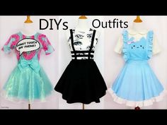 3 Cool&Creative DIY Outfits: DIY Mint Shimmering Skirt+Bandage Suspender Skirt+Cat Maid Costume - YouTube
