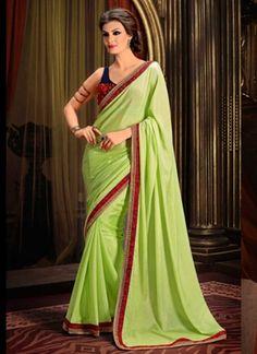 Modern green faux Georgette patch border saree http://www.angelnx.com/Sarees/Party-SareesWear-#/
