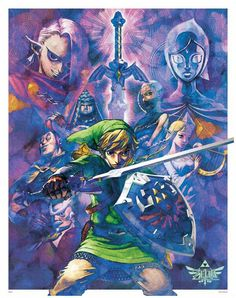 The Legend of Zelda Anniversary poster of Skyward Sword. This should have been the cover art! The Legend Of Zelda, Legend Of Zelda Poster, Zelda Skyward, Skyward Sword, Link Zelda, Geeks, Dibujos Pin Up, Princesa Zelda, Zelda Video Games