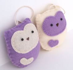 Felt Owl Ornaments - Light Purple and Ivory - Set of 2 by Whimzy Hollow