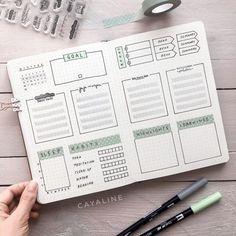 Bullet Journal // Weekly Spread Idea // pale green weekly goal, book reading tracker, tasks, sleep t