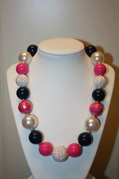"""20""""Bubble Gum Bead Necklace- White, Navy and Pink"""